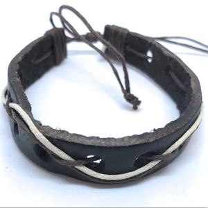 Dark Brown Genuine Leather Bracelet Adjustable